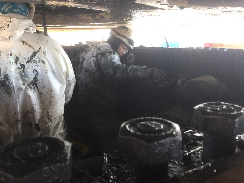 workers performing slew bearing replacement